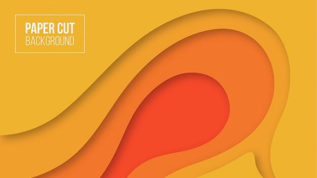 抽象的なオレンジ色の紙カットの背景
