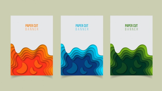 抽象的な現代紙カットバナーデザイン