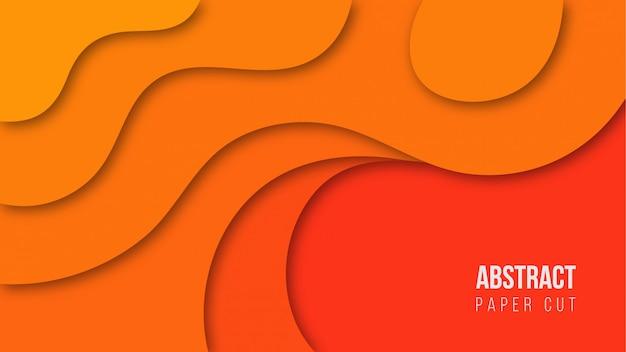 抽象的なオレンジ色の紙カット背景