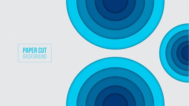 抽象的な青い紙カット背景