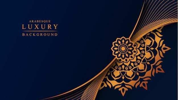 ゴールデンアラベスク装飾が施された豪華なマンダラの背景