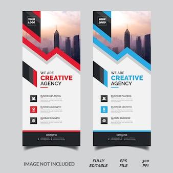 Творческий красный и синий бизнес свернуть баннер шаблон