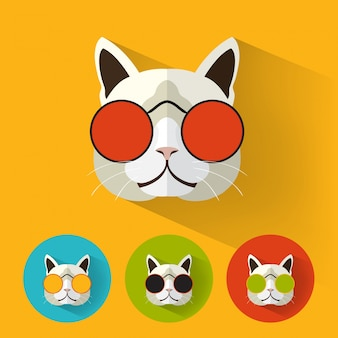 ロングシャドウのヒップスター猫