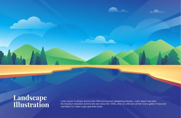 Открытка иллюстрации деревьев ландшафта горы озера