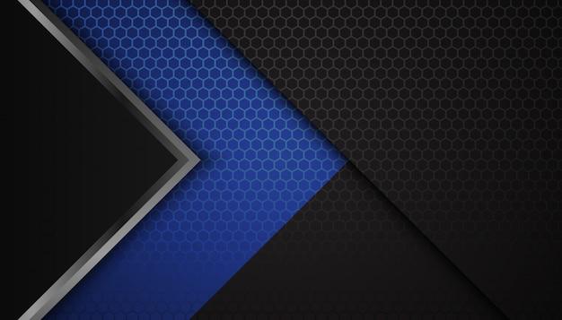 暗い背景に抽象的な青い六角形