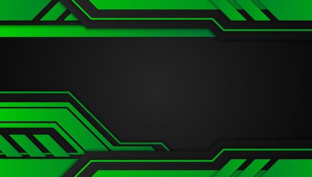 暗い背景に抽象的な緑の幾何学的図形