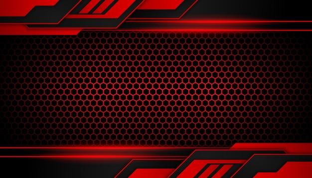 六角形の暗い背景に抽象的な赤い光の幾何学的図形