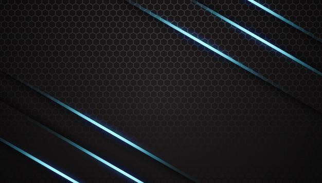 暗い六角形の背景に輝く青い線