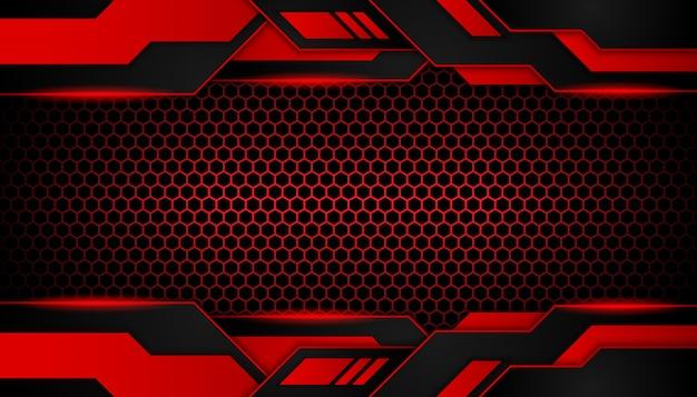 暗い六角形の豪華な抽象的な赤い光