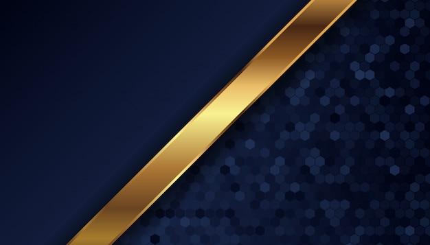 金色の線とドットと抽象的な暗い青色の背景