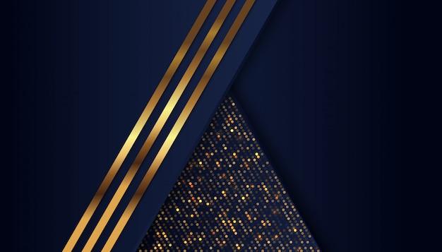 黄金色の光のラインと暗い青色のオーバーラップ背景