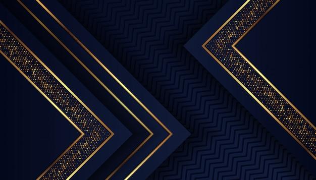輝く黄金のドットと豪華な暗い青色の背景