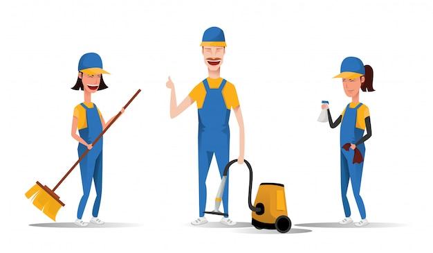 Персонажи из мультфильма уборщицы усмехаясь изолированные на белой предпосылке. мужчины и женщины, одетые в единую иллюстрацию в плоском стиле. милые и веселые горничные и уборка концепции.