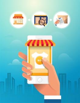 オンラインショッピングの概念。スマートフォンを持っている手。アイコンを設定します。フラットの図。