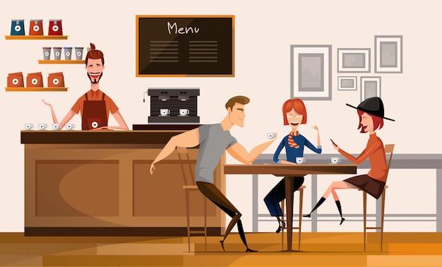 Люди в современных кофейне или кафе в иллюстрации современного рабочего места университетского кампуса центра внутренней плоской.