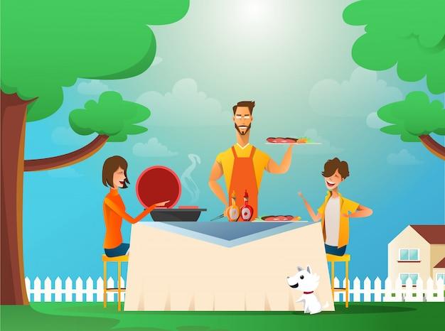 屋外のバーベキューを食べる幸せな家族