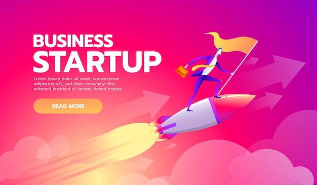 目標フラグを保持している幸せな成功した実業家
