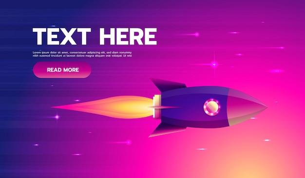 スペースロケットが空を飛んで、フラットなデザインカラー