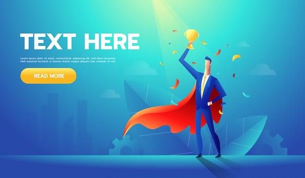 Европейский бизнесмен с кубком на руке, победитель или лидер мужской персонаж