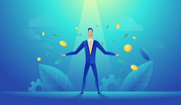 Векторная иллюстрация счастливого бизнесмена празднует успех