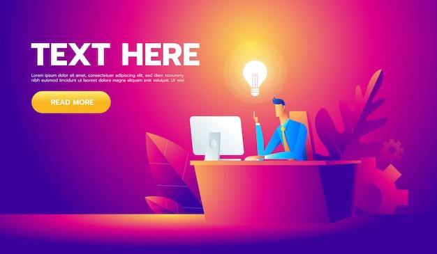 彼の机で働いて、たくさんのアイデア電球を作成する幸せなビジネスマン
