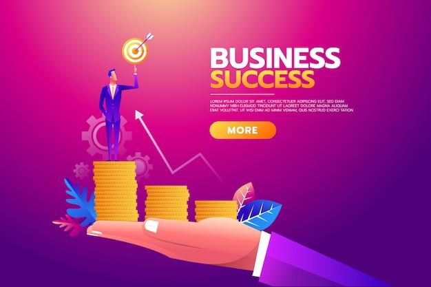 Бизнесмен держа цель цель, портфель полный денег, все цели достигнуты.