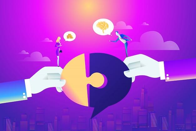 ビジネスマンと女性のパートナー接続パズル