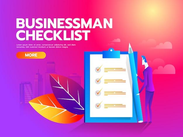 クリップボードに実業家のチェックリスト。コンセプト事業図