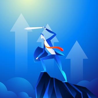 スーパーヒーローのように見えるビジネスマンは山に剣を見せています。