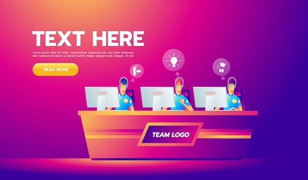Профессиональная команда геймеров с гарнитурами за столом за компьютером играет в видеоигры