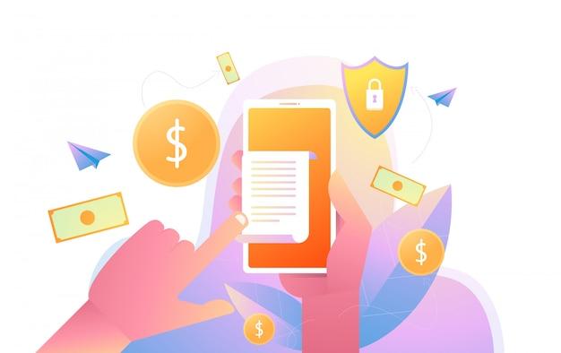 請求書用紙、請求書用紙とフラットスタイルの携帯電話、オンライン決済の概念を持つスマートフォンを持っている手。