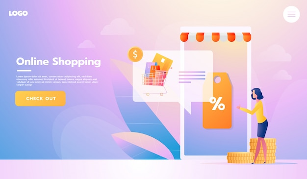 Покупатель электронной коммерции. интернет-товары. целевая страница. молодая женщина, делающая покупки онлайн