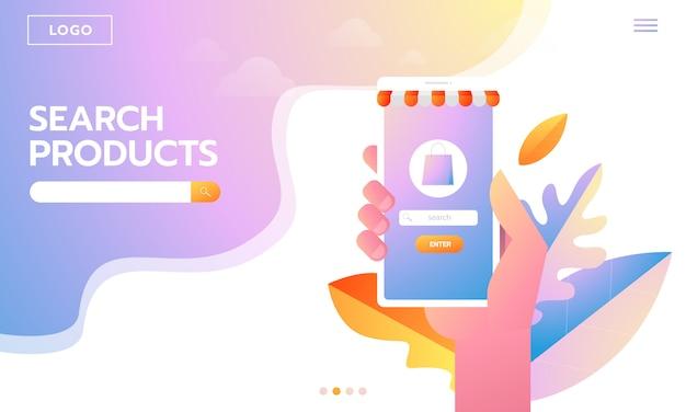 Покупатель электронной коммерции. интернет-товары. целевая страница молодая женщина, делающая покупки онлайн. векторные иллюстрации взаимодействующие люди