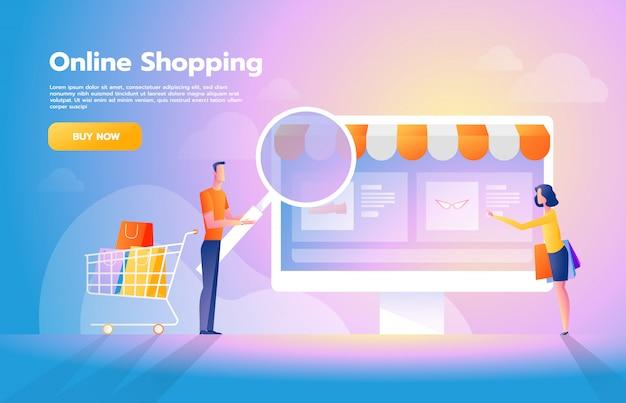 スマートフォンで買い物をするカップルとアプリケーションの概念を使用してオンライン支払い。インターネットでの購入コマース広告イラスト。