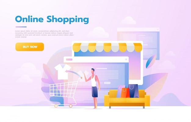 モバイルショッピングを利用している男性。タブレットコンピューターのように見える店内を歩く人。オンラインショッピングの概念ベクトルフラット設計図。
