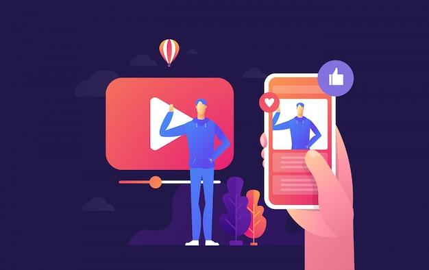 Люди транслируют онлайн-видео со своего ноутбука, концепцию смартфона, целевую страницу потокового видео,