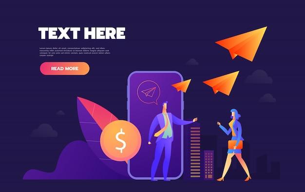 Пожертвование онлайн. мобильный телефон с монетой на экране. пользователи отправляют монеты. веб-баннер, инфографика. изометрическая иллюстрация.
