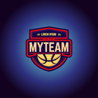 Баскетбольная команда логотип дизайн вектор шаблон