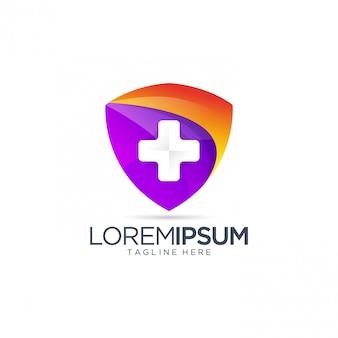 Абстрактный красочный щит с крестом логотипом шаблона