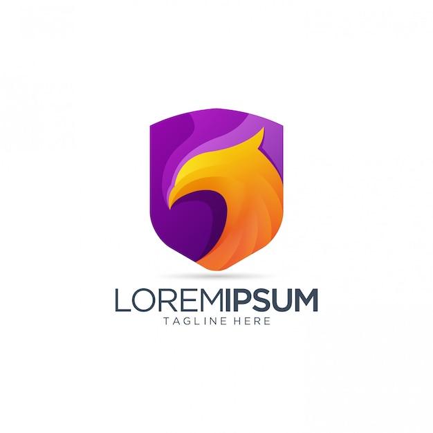 イーグルのロゴと抽象的な紫色の盾