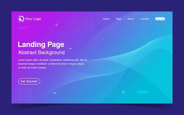 Шаблон целевой страницы сайта с синим градиентным фоном