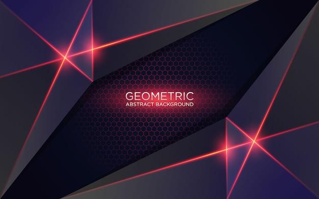 輝く赤い光と抽象的な幾何学的な背景