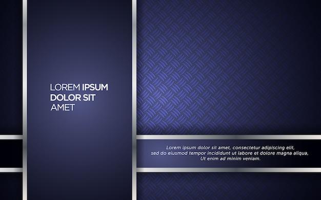 シルバーストライプと鋼の効果を持つ抽象的な暗い青色の背景