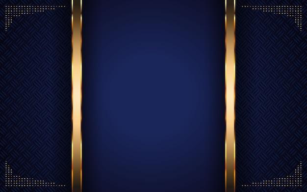 ゴールデンストライプと抽象的な暗い青色の背景