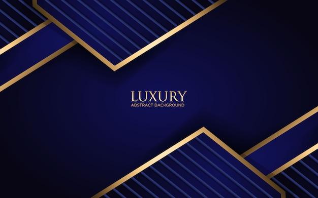 幾何学的形状とゴールデンストライプの豪華な暗い青色の背景
