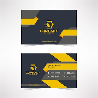 Современный шаблон дизайна визитной карточки с черными желтыми серыми цветами