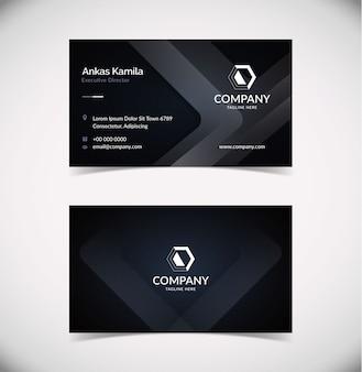 Шаблон элегантной темной формы визитной карточки