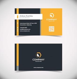 Современный темно-синий и оранжевый геометрический шаблон визитной карточки