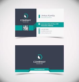 Современный темно-серый и бирюзовый геометрический шаблон визитной карточки