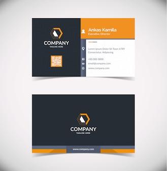 Современный черный и оранжевый геометрический шаблон визитной карточки